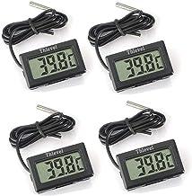 Thlevel 4X Monitor LCD de Temperatura con termómetro Digital y sonda Externa para refrigerador, congelador, refrigerador, Acuario (4X Negro)