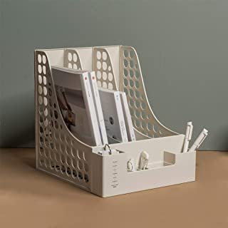 Lunmore Multifunction Magazine File Holder Magazine Rack Book Bins Desk Organizer, White, 2 Pack