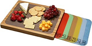 Seville Classics Easy-to-Clean Bamboo Cutting Board and 7 Color-Coded Flexible Cutting..