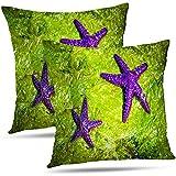Lfff Fundas De Almohada Sea Star and Shells, 2 Starfish Green Sea Weed 2 Fundas De Cojín Purple Throw Pillows 2Pcs 18 'X18'