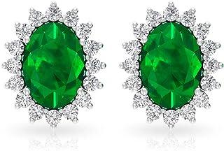 1.7 Ct Solitaire Emerald Stud Earring, IGI Certified Diamond Halo Bridal Earring, Statement Wedding Earring, IJ-SI Color Clarity Diamond Party Earring, Screw Back