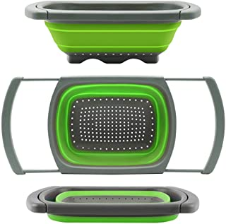 Qimh Colander collapsible, Colander Strainer Over The Sink Vegetable/Fruit Colanders Strainers With Extendable Handles, Fo...