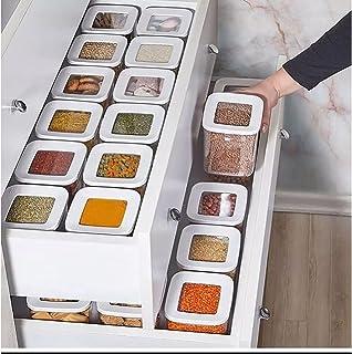DHGFH 12 Cuisine boîte de Rangement des Aliments Ensemble de conteneurs Organisateur Couvercle carré sous Vide bocaux herm...