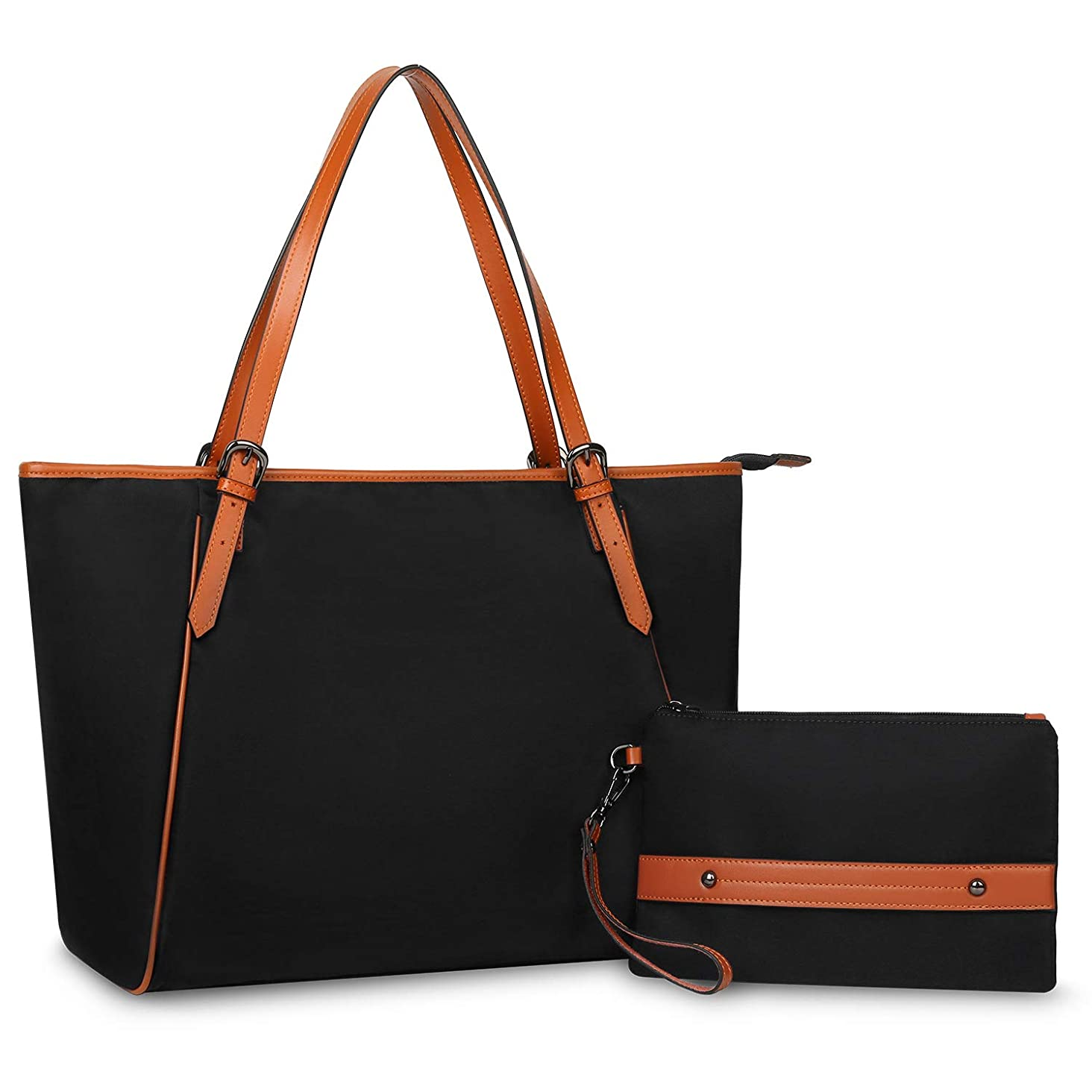 YALUXE Nylon Tote Purse Women's Shoulder Bag Oxford Large Capacity Work Fit 17'' Laptop black
