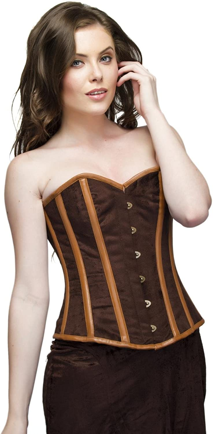 Brown Velvet & Leather Gothic Steampunk Bustier Overbust Long Skirt Corset Dress