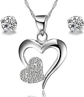 1ddf018189313 Parures Bijoux Femme en Argent 925 Collier Boucles d'Oreilles de cœur Oxyde  de Zirconium