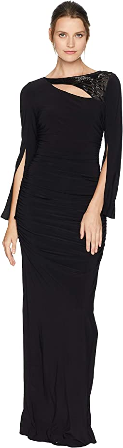 Long Sleeve Stretch Jersey Gown with Slit Sleeve and Beaded Neckline Detail