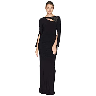 Adrianna Papell Long Sleeve Stretch Jersey Gown with Slit Sleeve and Beaded Neckline Detail (Black) Women