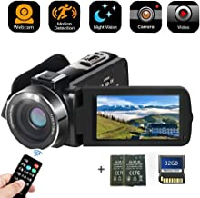 Camcorder Digital Camera with IR Night Vision HD Digital Video Camera 24.0Mega Pixels 16X Digital Zoom for Selfie Pause Function (Two Batteries and 32GB SD Card Included) (Black)