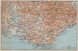 PROVENCE COTE D'AZUR. Marseille-Toulon-Nice Luberon Maures Vaucluse - 1914 - old map - antique map - vintage map - France map s