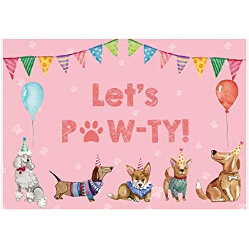 Zhy Vinyl 7x5ft Pink Puppy Dog Paw and Shield Baby Backdrop Kids Baby Girls Happy 1st Birthday Party Banner for Pictures Cake Table Decorations Photography Background Photo Booth Props