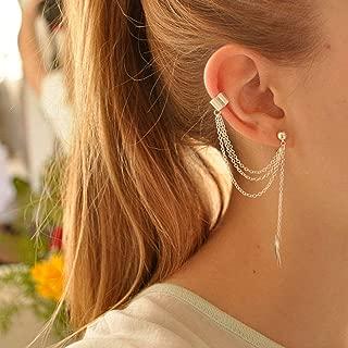 Artmiss Women's Leaf Earrings Gold Long Tassels Drop Dangle Fashion Bar Earring Ear Clip for Girls (Silver)