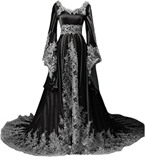 Long Sleeves Formal Evening Gowns A Line Women Gothic Dresses