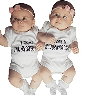 YOUNGER TREE 2 Packs Newborn Infant Twins Baby Boys Girls Romper Letter Print Bodysuit Summer Outfit Clothes