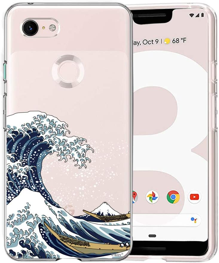 Unov Pixel 3 XL Case Clear with Design Soft TPU Shock Absorption Slim Embossed Pattern Protective Back Cover for Pixel 3 XL 6.3 inch (Great Wave)