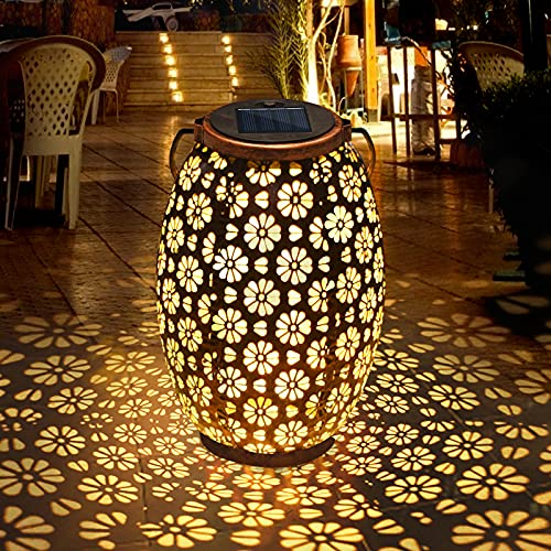 Solar Lantern Light,FOCHEA Solar Lantern Outdoor Solar Hanging Lanterns Solar Garden Lights Patio...