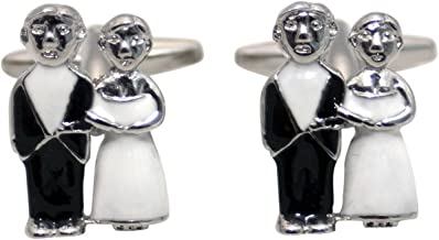 Zennor Mens Just Married Cufflinks - Black/White/Silver