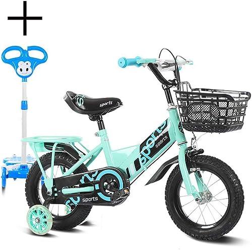 """Unisexe Vélo pour Enfants, Garçons Filles Vélo pour Enfants, 12 , 14 , 16 , 18  avec stabilisateurs et Panier, pour 2-9 Ans Enfants et Enfants en Bas age - avec Scooter,vert,16"""""""