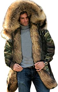Mens Winter Warm Thick Faux Fur Waterproof Outdoor Hood Parka Long Trench Jacket Over Coat Plus Size S-3XL