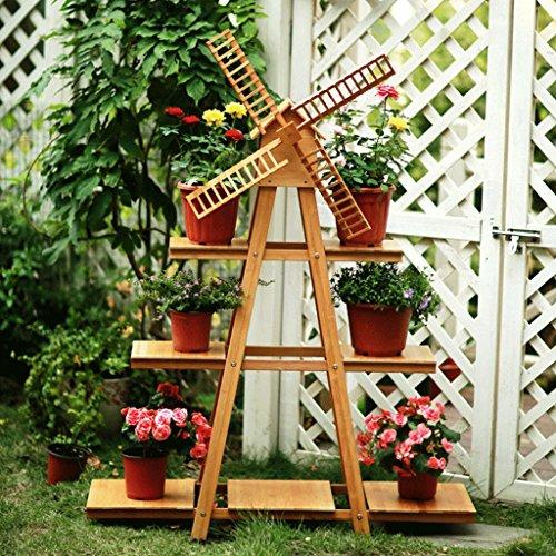 Cadre de fleur de moulin à vent en bois massif Creative Three-Layer, style pastorale Étagère de fleur de qualité de plancher, salon de jardin balcon fleur de bureau, 40 * 30 * 136cm