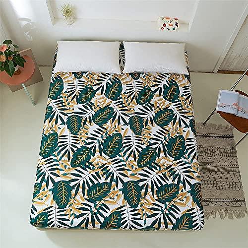 LLKK Home Plants - Funda de cama de poliéster con estampado floral para cama individual, tamaño king, para dormitorio, sábana bajera ajustable y protector de cama (color: BM010, tamaño: 200 x 200 cm)