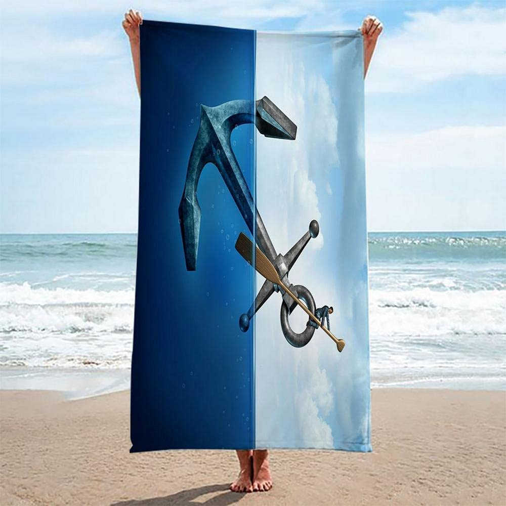 Microfiber Beach Towel Sand 67% OFF Some reservation of fixed price Free Anchor 100X200CM on Mat B