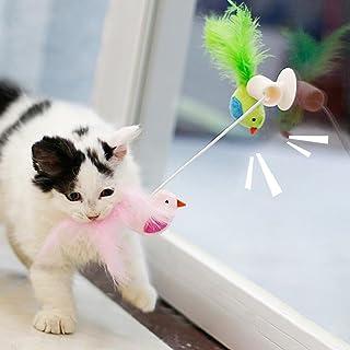 khkadiwb Cat Toys/Interactive Cat Toys/Cat Accessories/Catnip Bird Feather Pet Cat Interactive Teaser Playing Toy Window Sucker Bells Having Fun Exercise Playing