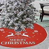 Voilamart Weihnachtsbaumdecke 90cm Weihnachtsbaum Rock Weihnachtsbaum Decke Deko,runde Baumdecke Tannenbaum Tannenbaum-Unterlage mit Weihnachtsmotiv - rot -