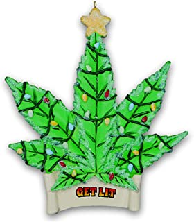 Kurt Adler Marijuana Leaf Get Lit Christmas Tree Ornament - Green Cannabis Pot Leaf with Glittered Christmas Lights Design - Funny Gag Gift Holiday Home or Car Decoration