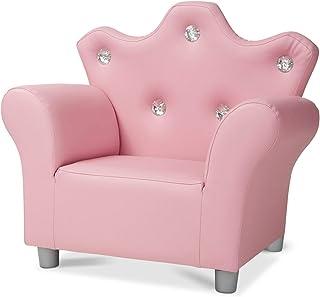 Melissa & Doug Child's Crown Armchair - Pink Faux Leather Children's Furniture - Amazon Exclusive