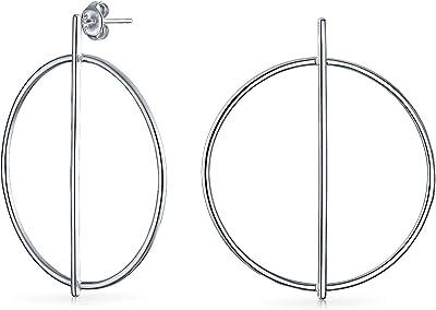 Orecchini a cerchio a goccia a cerchio aperto rotondo minimalista per donna 925 sterling argento 1,75 pollici Dia