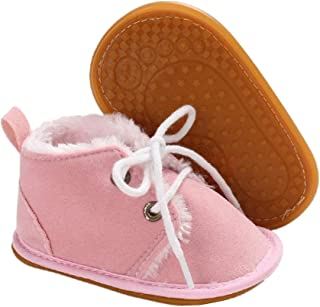 Hsnikabe Baby Booties Newborn Boy Girl Shoes Winter Warm Fur Lining Non-Slip Lace Up Prewalker Boots