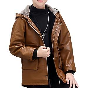 [美しいです] キッズ 子供 ジャケット ライダースジャケット 男の子 PUレザージャケット キッズ服 春秋 ジャケット (140CM, アースイエロー)