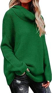 Juner Women Fashion Winter High Collar Sweater Casual Solid Long Sleeve Lazy Loose Sweatshirt