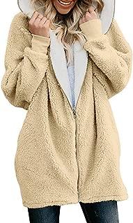 WOCACHI Womens Fluffy Coat Zipper Hooded Warm Plus Size Sherpa Lined Fleece Jacket Solid Oversized Hoodies