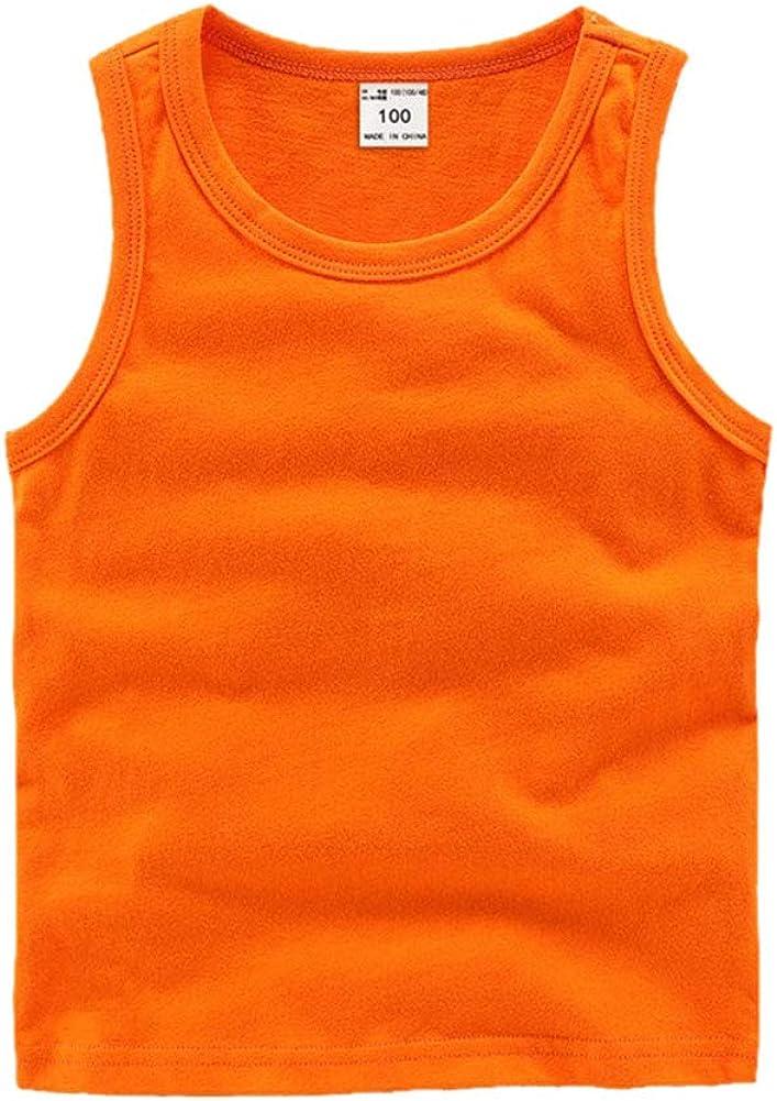 DCUTERQ Toddler Baby Boys Girls Solid Tank Tops T-Shirts Undershirts Cotton Summer Sleeveless Vest Orange 3 Years