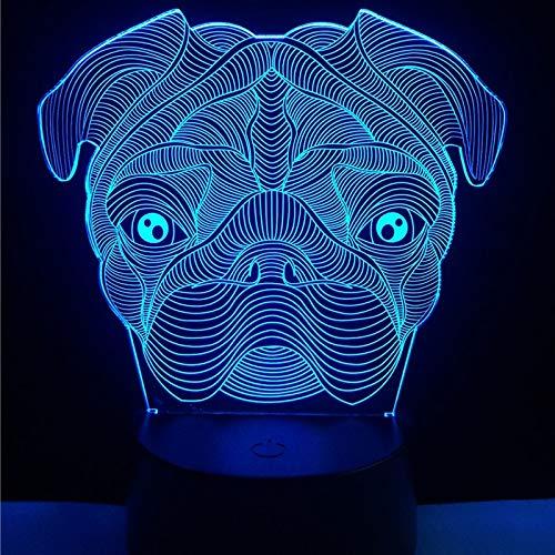 RMRM 3D Cute Dog Goggy Shar Pei Dog Shape Lampada LED Baby Night Light y Camera da letto Tavolo...