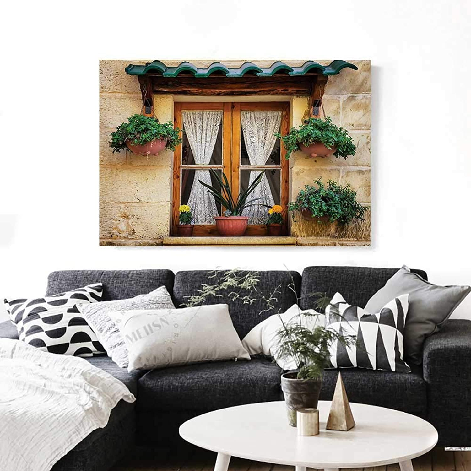 Shutters Wall Paintings Basket of Flowers Historic Building Window with Classic Lace Curtain Inside Image Print On Canvas for Wall Decor 36 x32  Beige Green