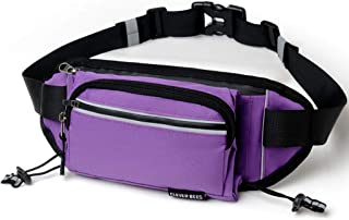 Dolloress Nylon Running Waist Bag Runner Waist Pack with Water Bottle Holder Earphones Hole Mobile Phone Keys Wallet Card Storage Pouch Bag for Hiking Cycling Climbing Jogging