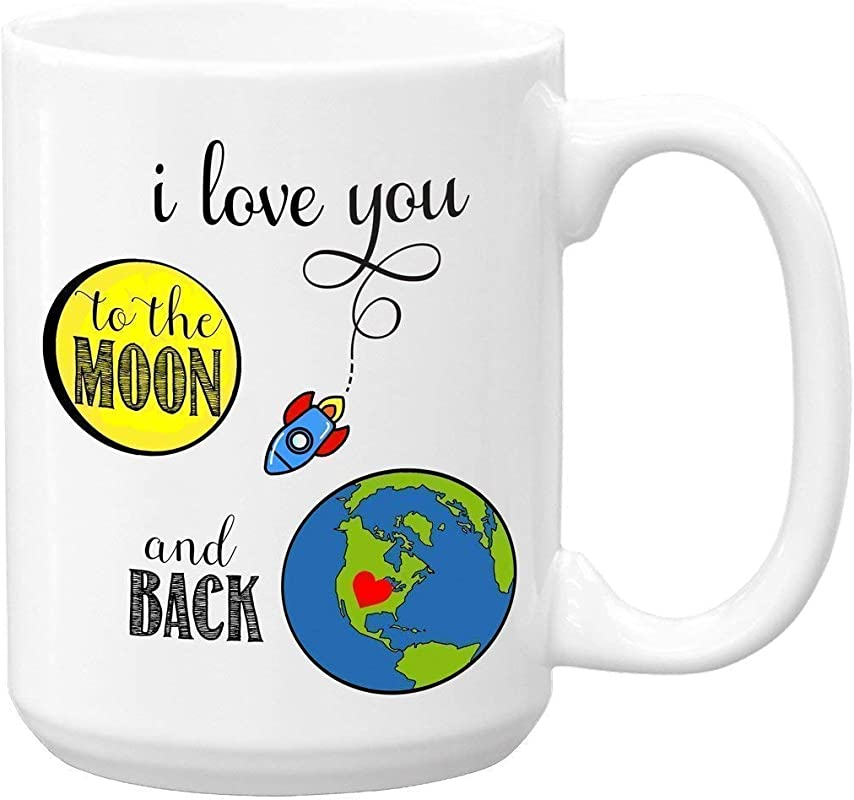 I Love You To The Moon And Back Large 15 Oz Ceramic Coffee Mug