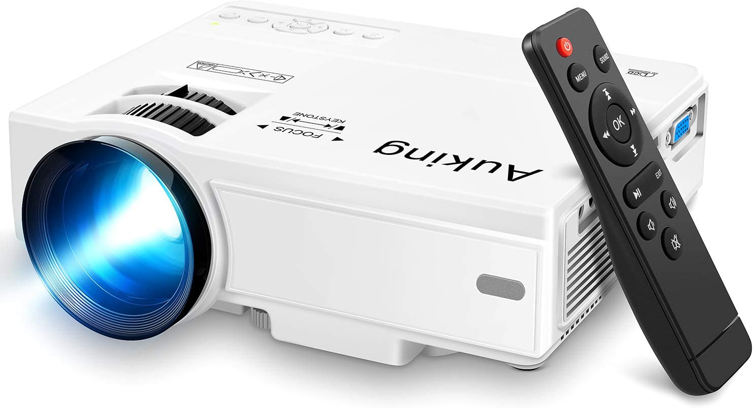 AuKing Mini Projector 2021 Upgraded Portable Video-Projector,55000 Hours Multimedia Home Theater Movie Projector,Compatible with Full HD 1080P HDMI,VGA,USB,AV,Laptop,Smartphone