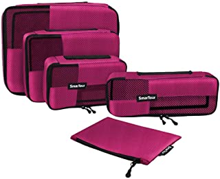 SmarTour Packing Cubes Set Luggage Organizer for Travel - Packing Cube System with Laundry Bag, Pack of 5 (Red)