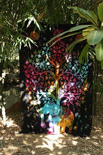 urbancharm- Richesse éléphant Tapisserie, sous arbre de vie tapisserie, Good Luck indien Hippie mur/cloison ou Résidence, couverture de pique-nique, plage, couverture, table tissu de rawyalcrafts