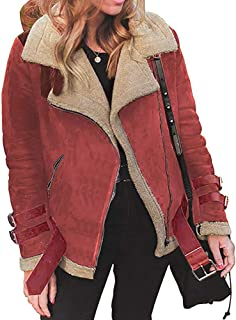 Sunmoot Women Winter Warm Faux Fur Fleece Coat Outwear Lapel Biker Motor Bomber Jacket