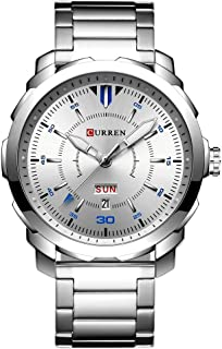 CURREN Men's Watch Stainless Steel Band Wristwatches Waterproof Quartz Watches with Calendar for Men 8266 (Silver)