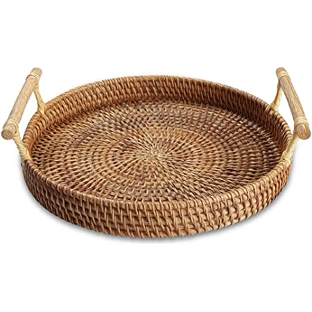 14.5 inch Drinks YANGQIHOME Hand-Woven Rattan Serving Tray with Handles for Breakfast Snack for Dining//Coffee Table , Rectangular 37 cm