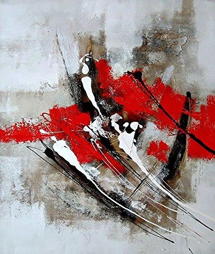 ETA-BL Tableau Abstrait Rouge et Gris 100% Peint à la Main. Peinture à l'huile sur Toile. Livré sur Châssis. Dimensions 60 X 90 cm. Tableau Abstrait signé. Décoration Murale Moderne et contemporaine.