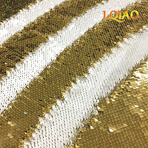 LQIAO HOT Light Gold White-Reversible Sequin Fabric by The Yard Fuchsia Flip Up Large Sequin Fabric Sparkly for Sewing Clothing DIY-0.5 Yard