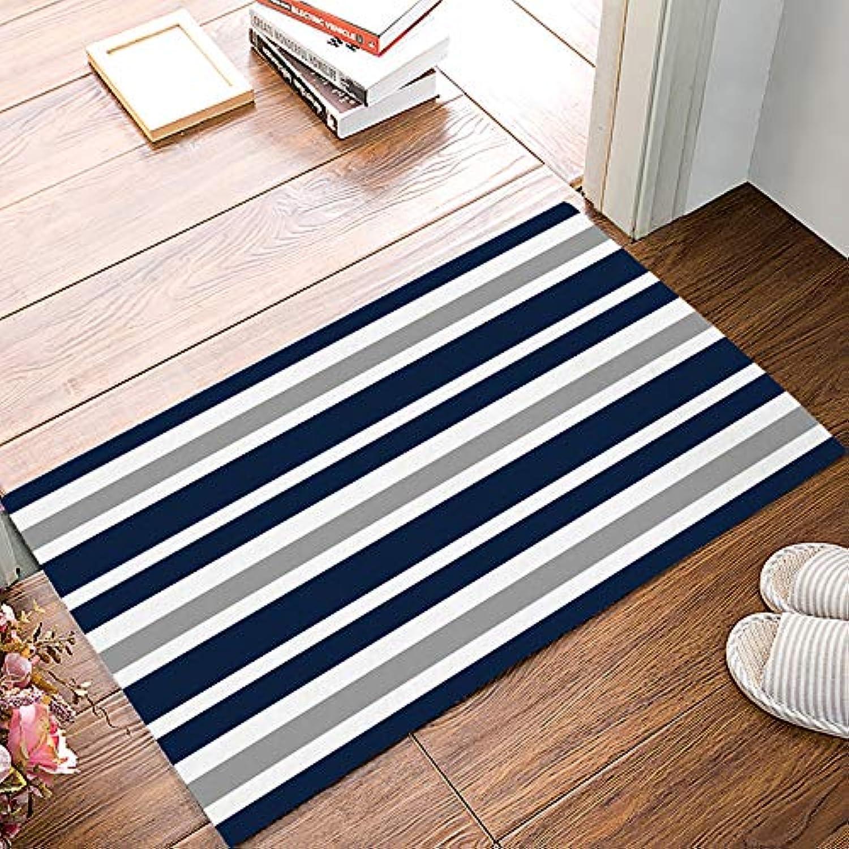 Family Decor Entrance Door Mat Rug Indoor Outdoor Front Door Shower Bathroom Doormat, Non-Slip shoes Scraper Carpet 20  X 31.5  - Navy bluee and Grey Stripes