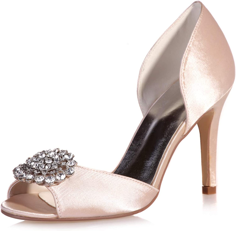 LLBubble Women Peep Toe High Heels Satin Wedding shoes Stilettos Bridal Pumps Crystal Party Dress shoes 5623-15